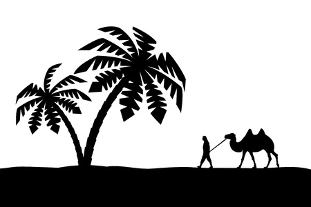 Man with camel in Palma. Vector