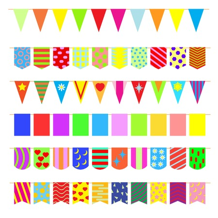 Set garlands of colored flags. Vector
