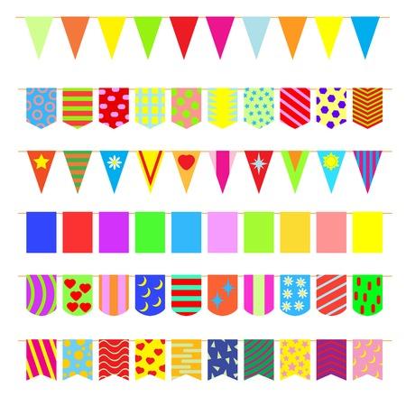 Set garlands of colored flags. Stock Illustratie