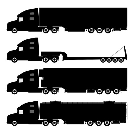 dump truck: Vector set of silhouettes the cargo trucks.