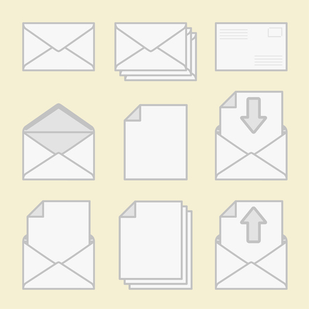 Set of icons envelopes and paper. Vector
