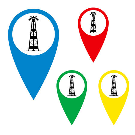gusher: The silhouette of oil fountain on a map marker.