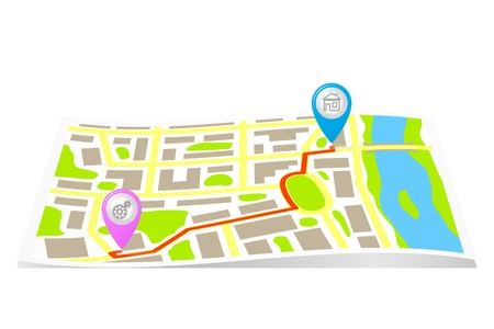 The route on the map of the city. Vector