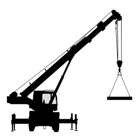 mobile crane: Crane. Silhouette on a white background.