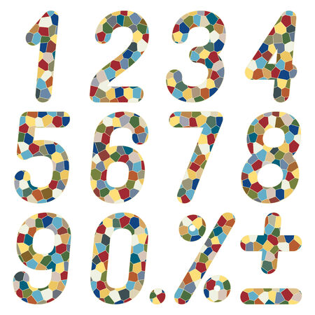 six point: Set of numbers of mosaics.