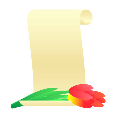 vellum: Bouquet of tulips and paper scroll.