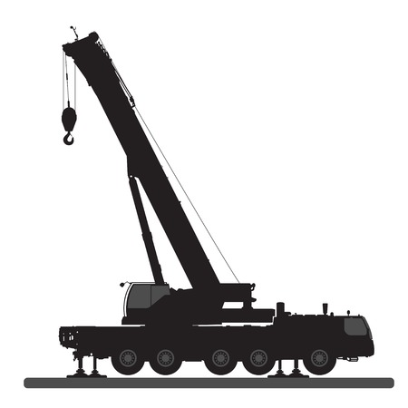 telescopic: Crane silueta sobre un fondo blanco