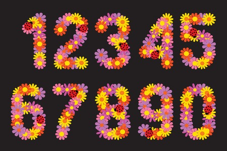 six objects: Vector illustration set the Numbers of colors.
