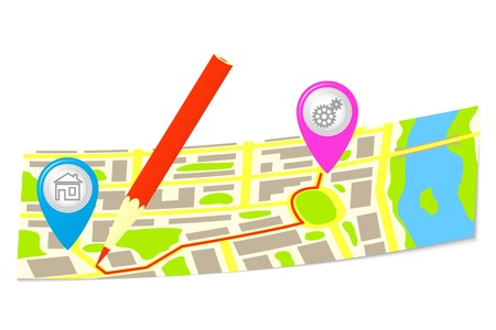 The route and pencil on the map of the city.  Vector