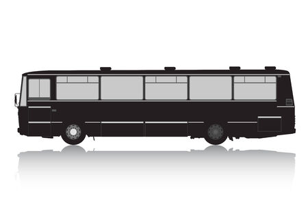 conveyance: Bus silhouette on a white background  Illustration
