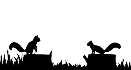 Silhouette of a squirrel on a tree stump  Ilustracja