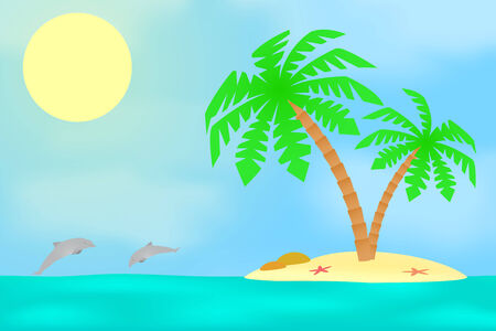 An island with a palm tree on a background of a sea landscape. Vector