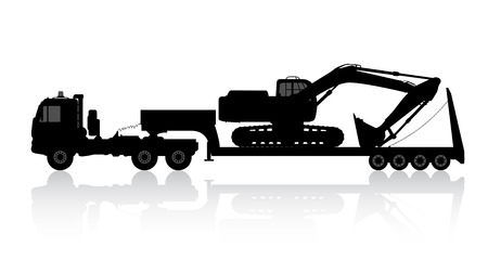 Silhouette of the excavator on the trawl. Vector