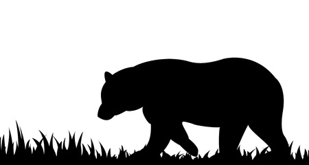 Silhouette of bear in the grass. Stock Illustratie