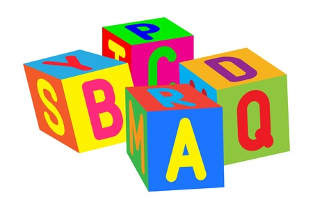 Kids colored cubes with letters.