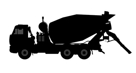 Silhouette of a concrete mixer. Vector