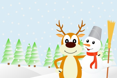 Illustration the deer and the snowman. Vector