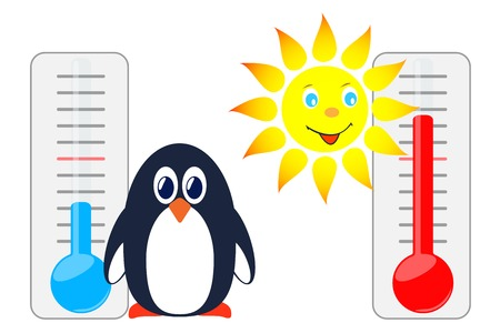 thermometers: Sun and penguin with thermometers. Vector illustration.