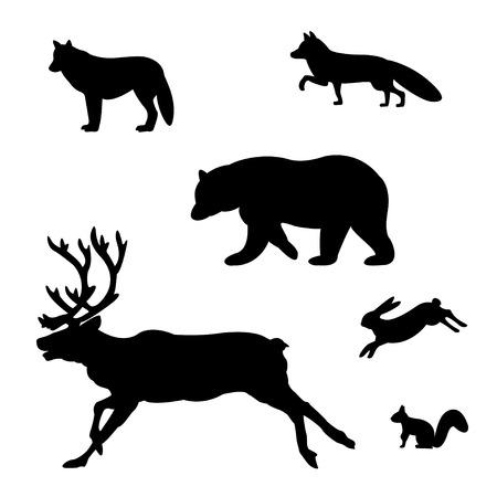 Set of silhouettes of wild animals. Stock Illustratie
