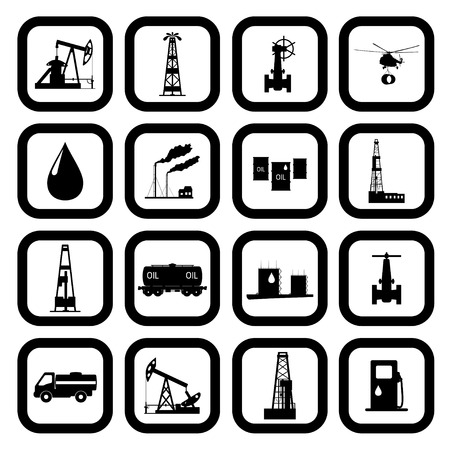 Oil and petroleum icon set. Vector