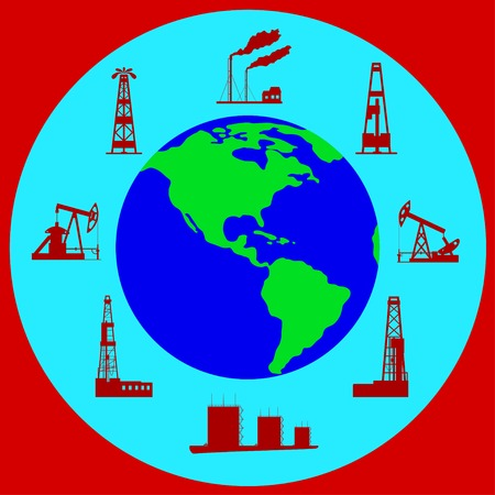 Globe and silhouettes of oil industry. Vector