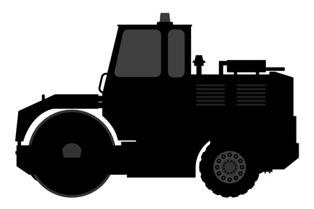constructional: Silhouette steamroller on a white background. Vector illustration.