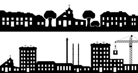 Set of silhouettes the cityscapes. Vector illustration. Vector