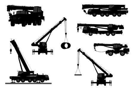 crane truck: Set Crane Silhouette on a white background.