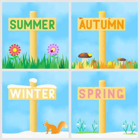 A set of signs with the names of the seasons. Vector