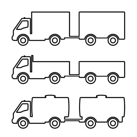 dumper: Set of silhouettes the cargo trucks.