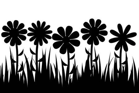 bovenaanzicht plant: Naadloos silhouet gras en bloemen.