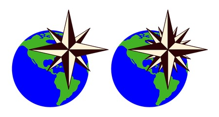 compass rose: The emblem of the compass rose.
