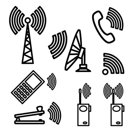 telegraph: Set Icons of communication.