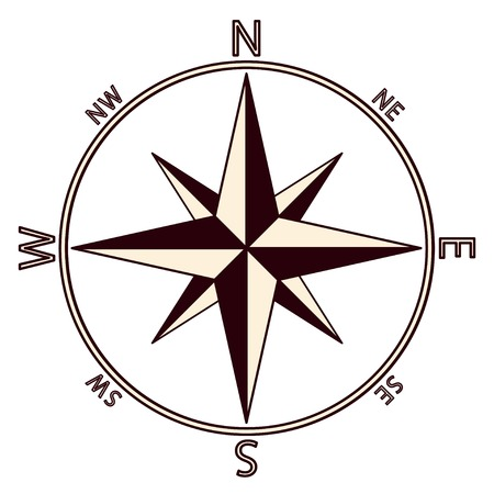 northeast: The emblem of the compass rose.