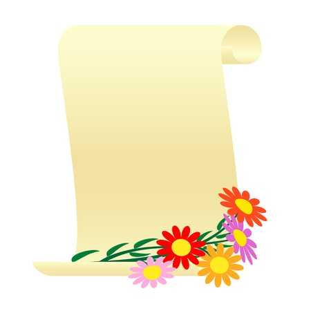 vellum: Bouquet of flowers and a scroll.