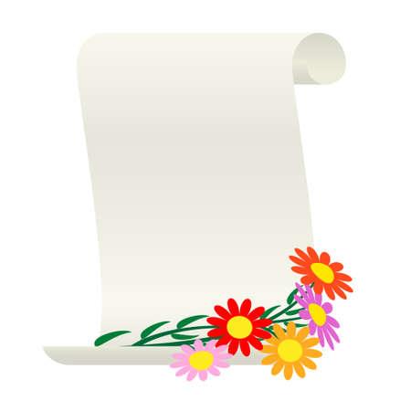 vellum: Bouquet di fiori e una pergamena.