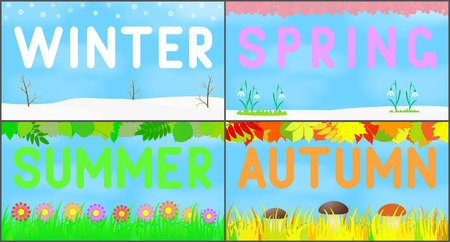 Set scenery seasons. Vector