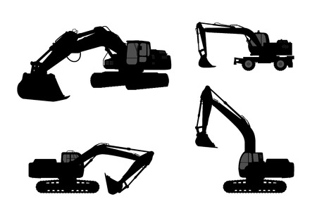 dredging tools: Set silhouette the excavate. Illustration