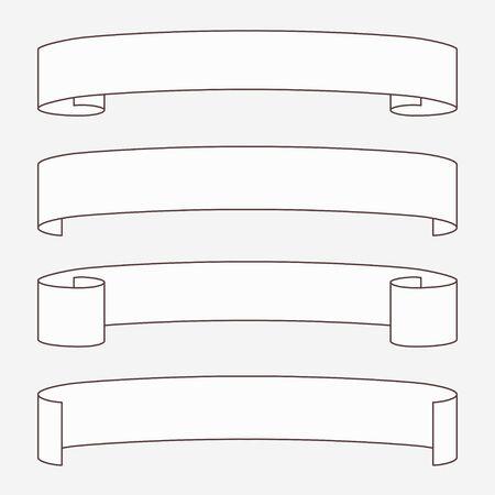 vellum: Set di rotoli orizzontali bianche. Vettoriali