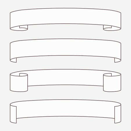 Set of white horizontal scrolls. Illustration
