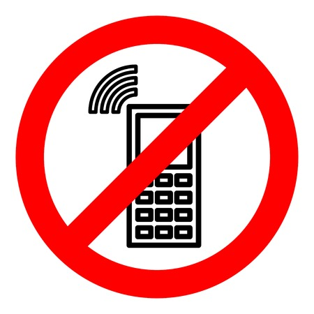 Sign forbidding to use the phone. Illustration