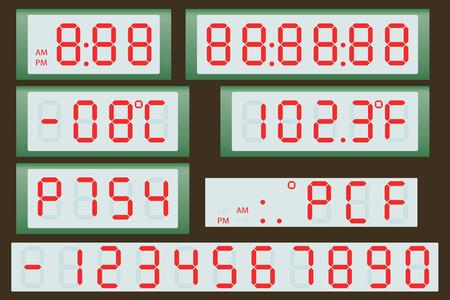 metrology: Electronic scoreboard clock and thermometer. Illustration