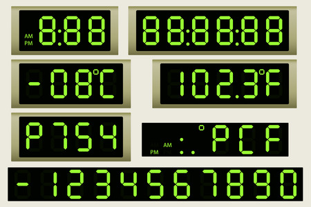 flat panel display: Electronic scoreboard clock and thermometer. Illustration