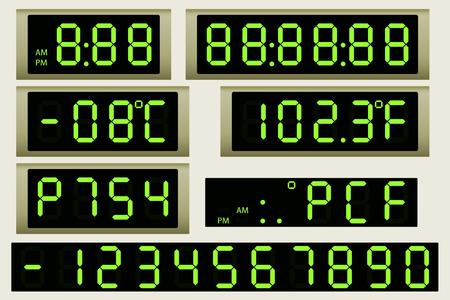panel de control: Reloj marcador electrónico y el termómetro.