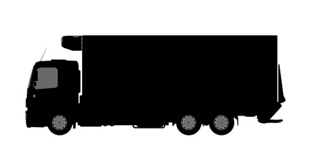 commercial painting: Silhouette of a truck on a white background.