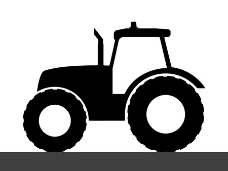 Tractor silhouette on a white background.