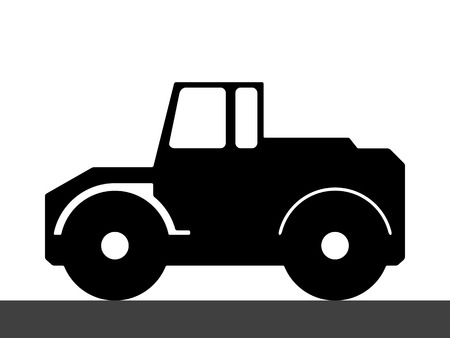 constructional: Silhouette steamroller on a white background. Illustration
