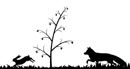 Vector illustration the silhouette of fox and hare in the grass.
