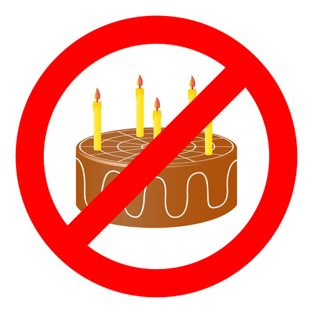 censorship: Birthday cake in prohibiting signs.