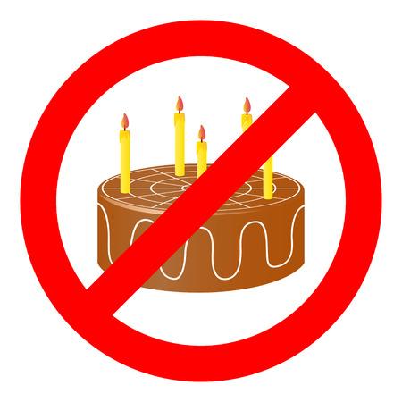 prohibiting: Birthday cake in prohibiting signs.